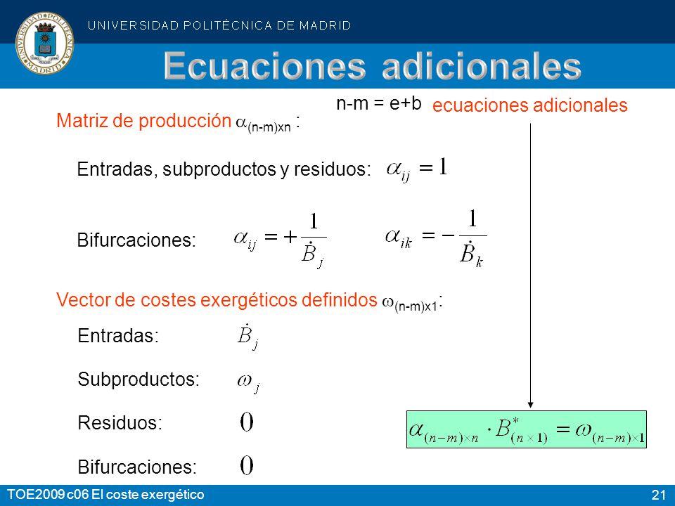 21 TOE2009 c06 El coste exergético Matriz de producción (n-m)xn : Vector de costes exergéticos definidos (n-m)x1 : ecuaciones adicionales Entradas, su