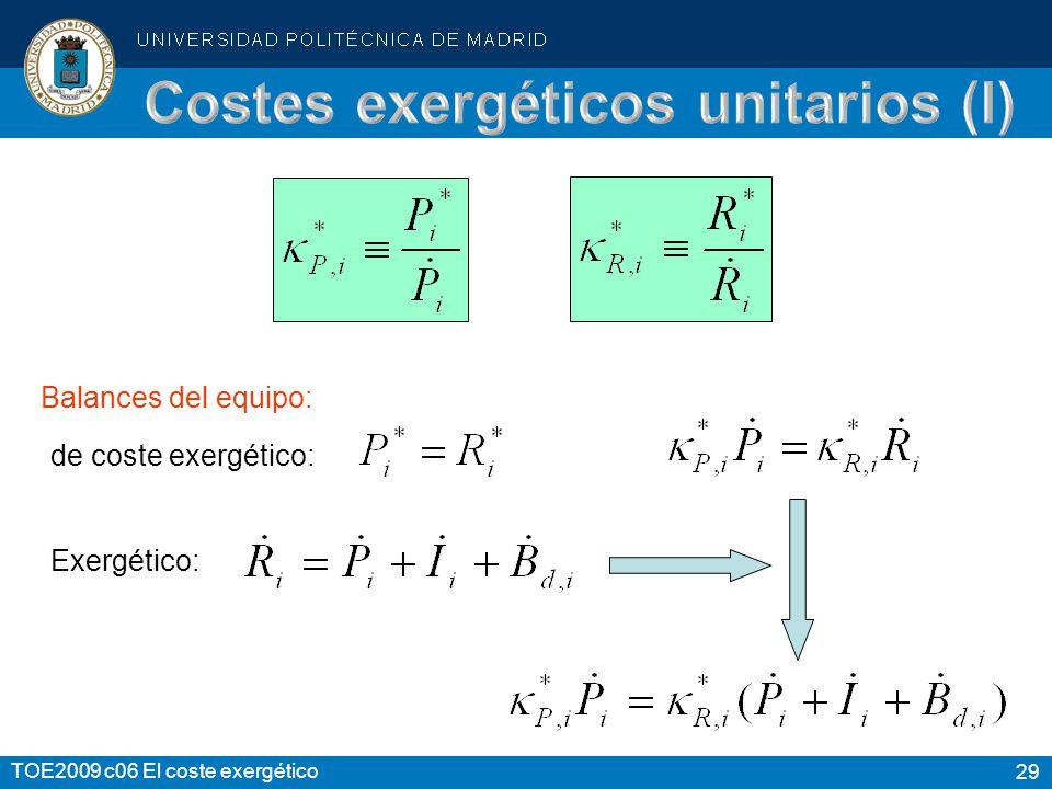 29 TOE2009 c06 El coste exergético Balances del equipo: de coste exergético: Exergético:
