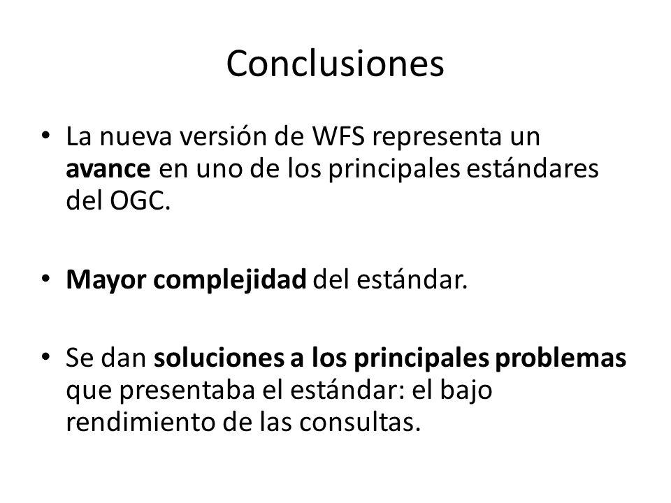 Conclusiones La nueva versión de WFS representa un avance en uno de los principales estándares del OGC. Mayor complejidad del estándar. Se dan solucio