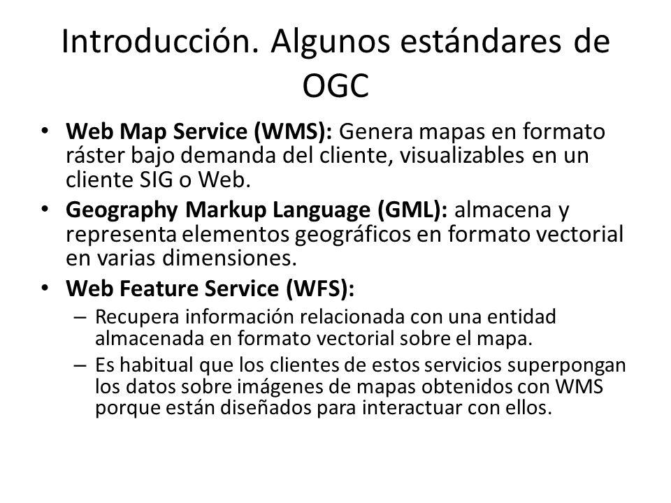 Introducción. Algunos estándares de OGC Web Map Service (WMS): Genera mapas en formato ráster bajo demanda del cliente, visualizables en un cliente SI