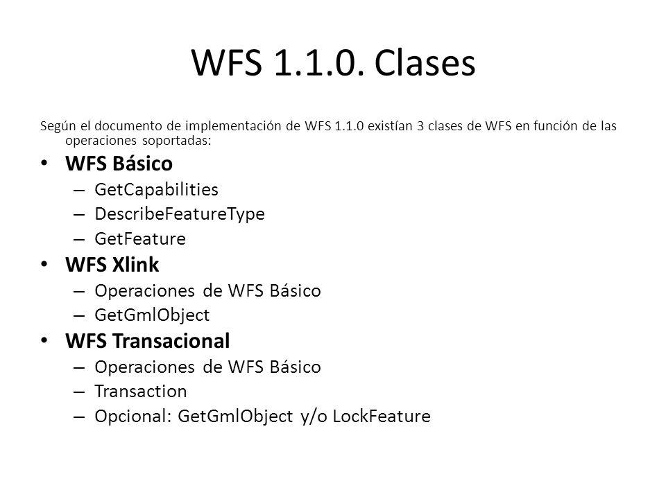 WFS 1.1.0. Clases Según el documento de implementación de WFS 1.1.0 existían 3 clases de WFS en función de las operaciones soportadas: WFS Básico – Ge
