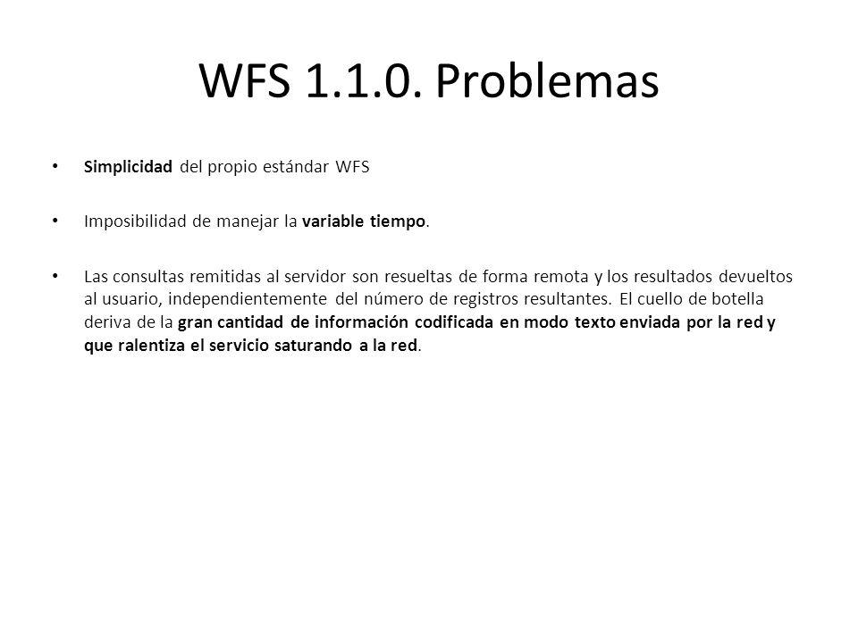 WFS 1.1.0. Problemas Simplicidad del propio estándar WFS Imposibilidad de manejar la variable tiempo. Las consultas remitidas al servidor son resuelta