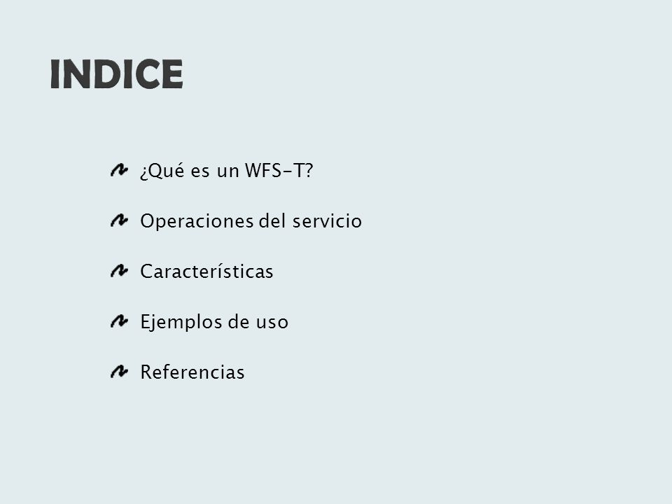 Se puede definir un WFS (Web Feature Service) como un servicio web que publica cartografía en formato vectorial proporcionando un medio de gestión y análisis de datos geográficos a través de la red en formato editable.