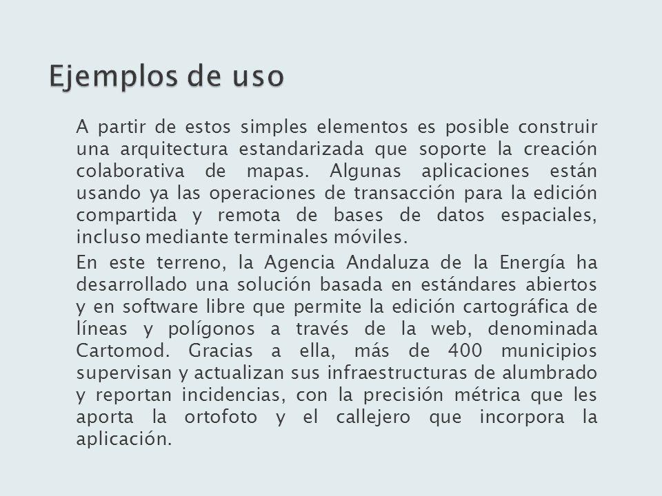 A partir de estos simples elementos es posible construir una arquitectura estandarizada que soporte la creación colaborativa de mapas. Algunas aplicac