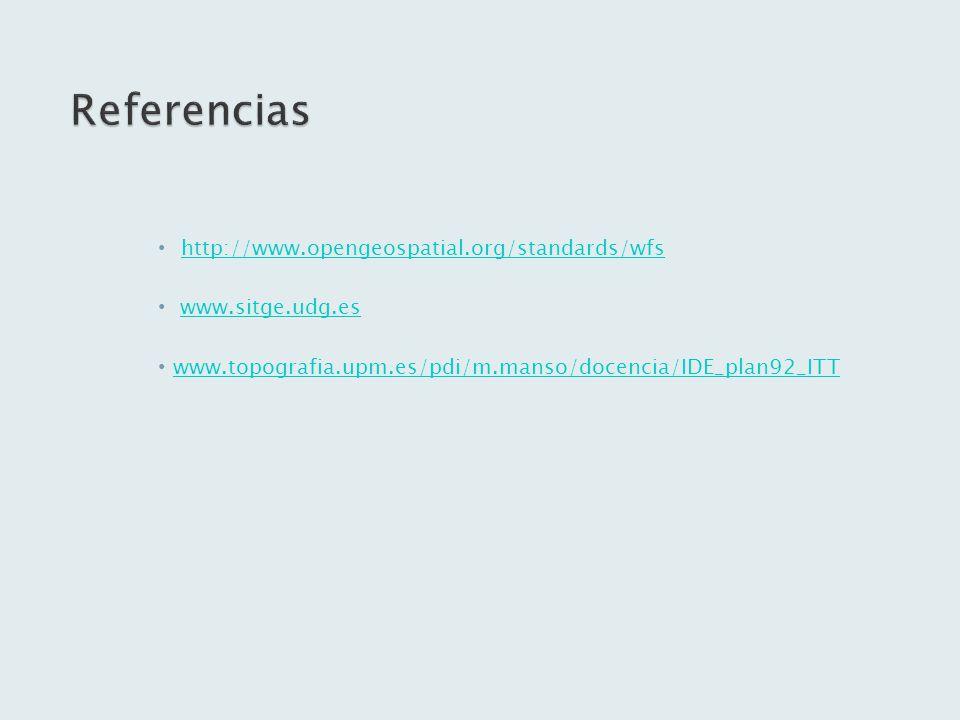 http://www.opengeospatial.org/standards/wfs www.sitge.udg.es www.topografia.upm.es/pdi/m.manso/docencia/IDE_plan92_ITT