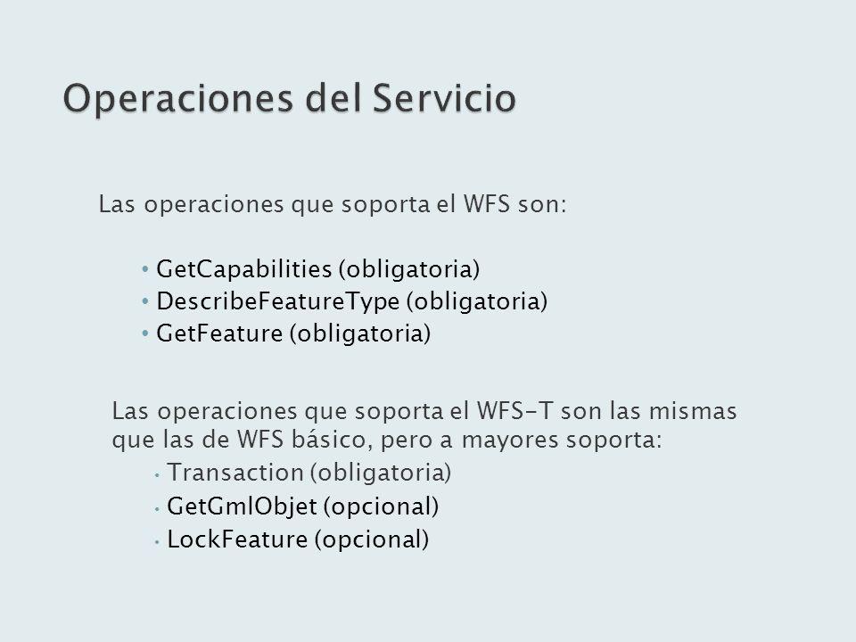 Las operaciones que soporta el WFS son: GetCapabilities (obligatoria) DescribeFeatureType (obligatoria) GetFeature (obligatoria) Las operaciones que s