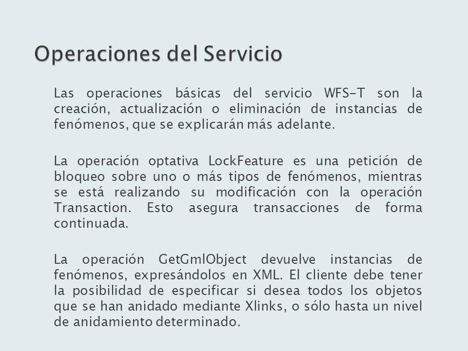 Las operaciones básicas del servicio WFS-T son la creación, actualización o eliminación de instancias de fenómenos, que se explicarán más adelante. La