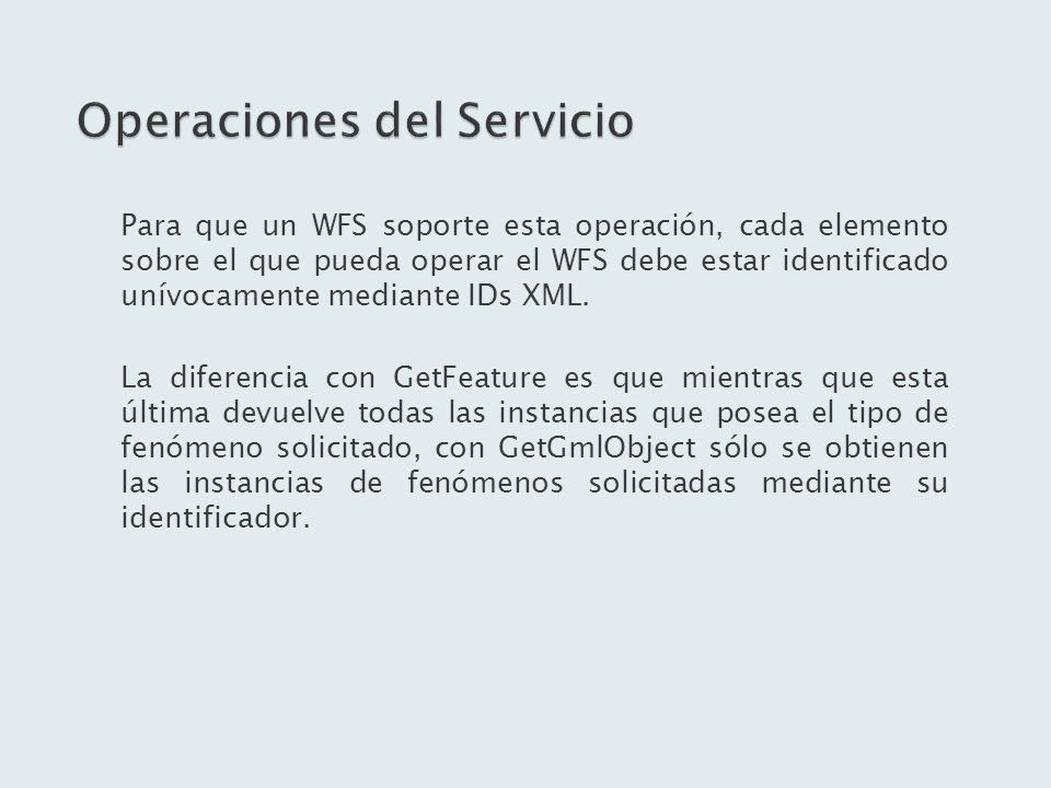 Para que un WFS soporte esta operación, cada elemento sobre el que pueda operar el WFS debe estar identificado unívocamente mediante IDs XML. La difer