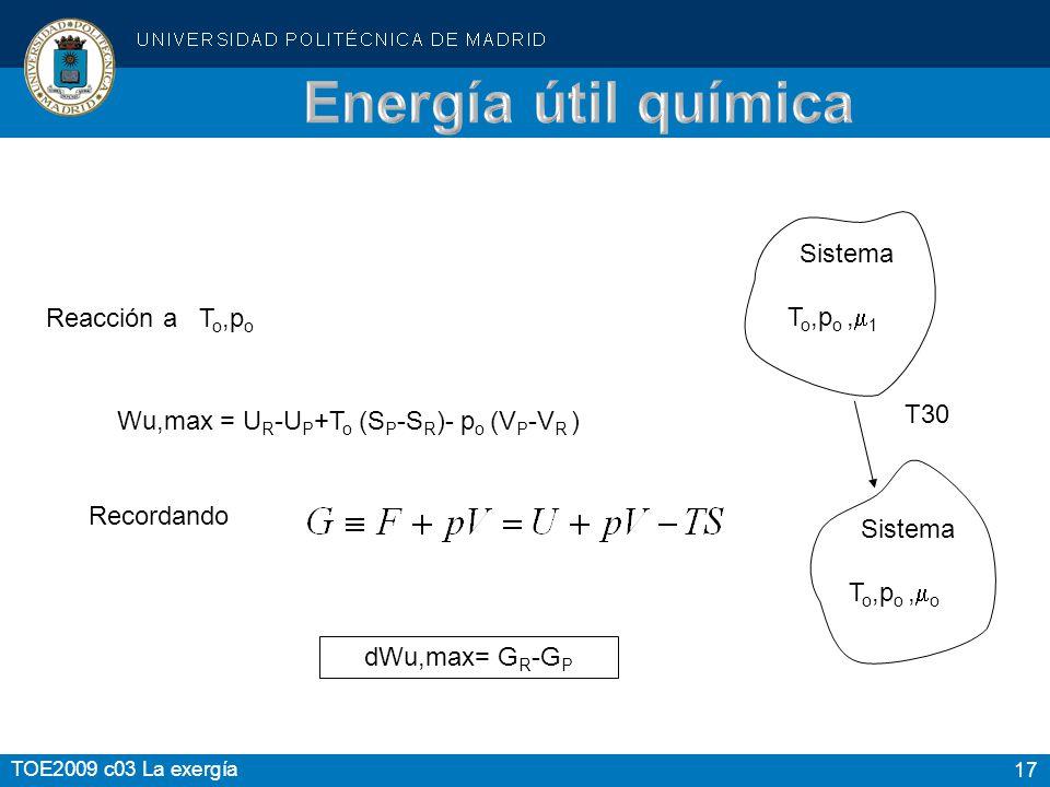 17 TOE2009 c03 La exergía Wu,max = U R -U P +T o (S P -S R )- p o (V P -V R ) Recordando dWu,max= G R -G P Reacción a T o,p o Sistema T o,p o, o Siste