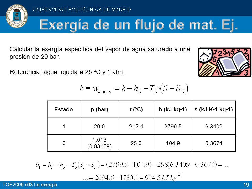 19 TOE2009 c03 La exergía Calcular la exergía específica del vapor de agua saturado a una presión de 20 bar. Referencia: agua líquida a 25 ºC y 1 atm.