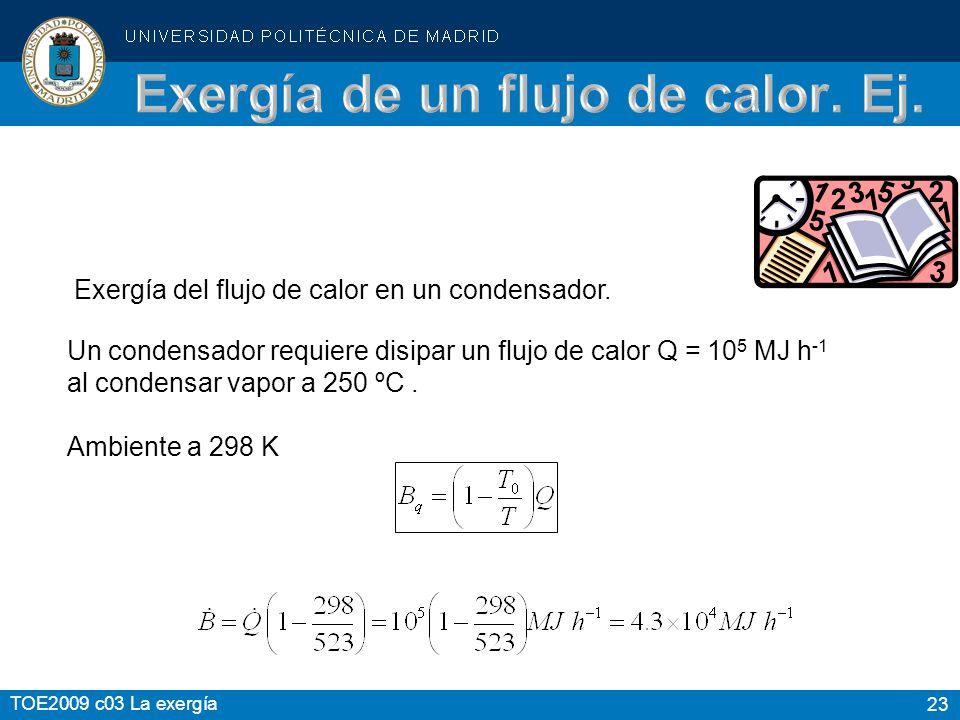 23 TOE2009 c03 La exergía Exergía del flujo de calor en un condensador. Un condensador requiere disipar un flujo de calor Q = 10 5 MJ h -1 al condensa