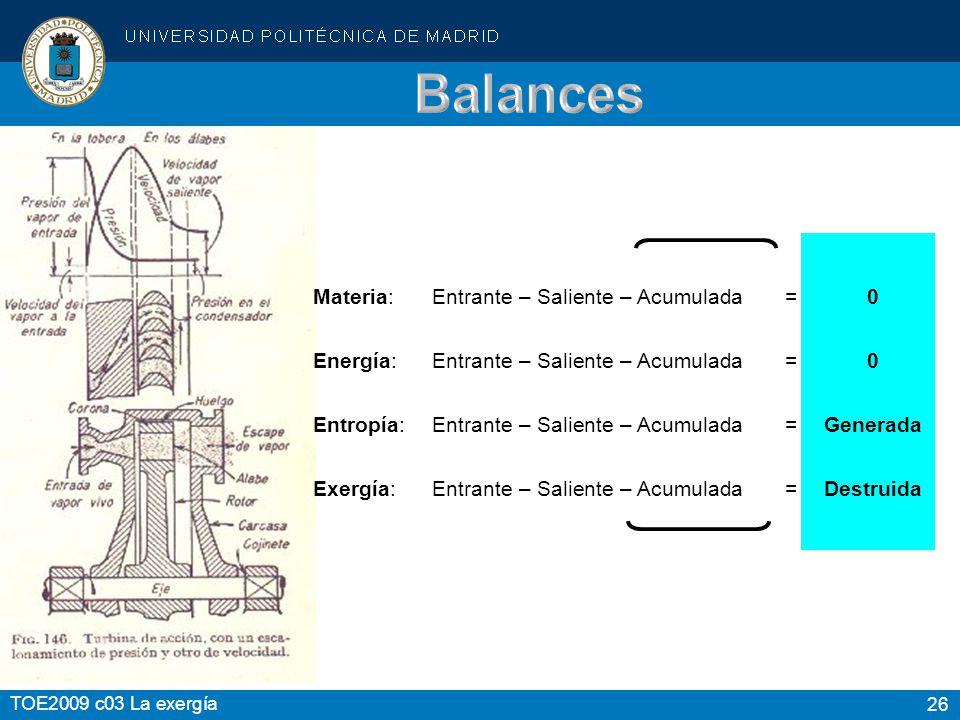 26 TOE2009 c03 La exergía Materia:Entrante – Saliente – Acumulada = 0 Energía:Entrante – Saliente – Acumulada = 0 Entropía:Entrante – Saliente – Acumu
