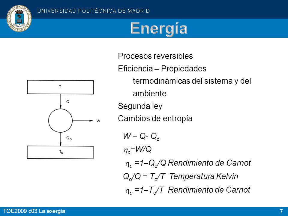 7 TOE2009 c03 La exergía Procesos reversibles Eficiencia – Propiedades termodinámicas del sistema y del ambiente Segunda ley Cambios de entropía W = Q