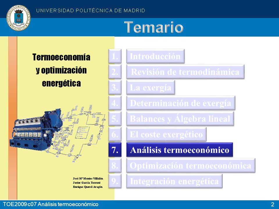 3 TOE2009 c07 Análisis termoeconómico TERMODINÁMICA: Energía utilizable Análisis Evaluación Rendimientos ANÁLISIS EXERGÉTICO Análisis Evaluación Optimización Otros costes (Capital, O.
