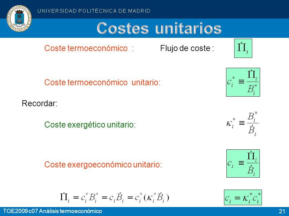 21 TOE2009 c07 Análisis termoeconómico Coste termoeconómico : Flujo de coste : Coste exergético unitario: Coste termoeconómico unitario: Recordar: Cos