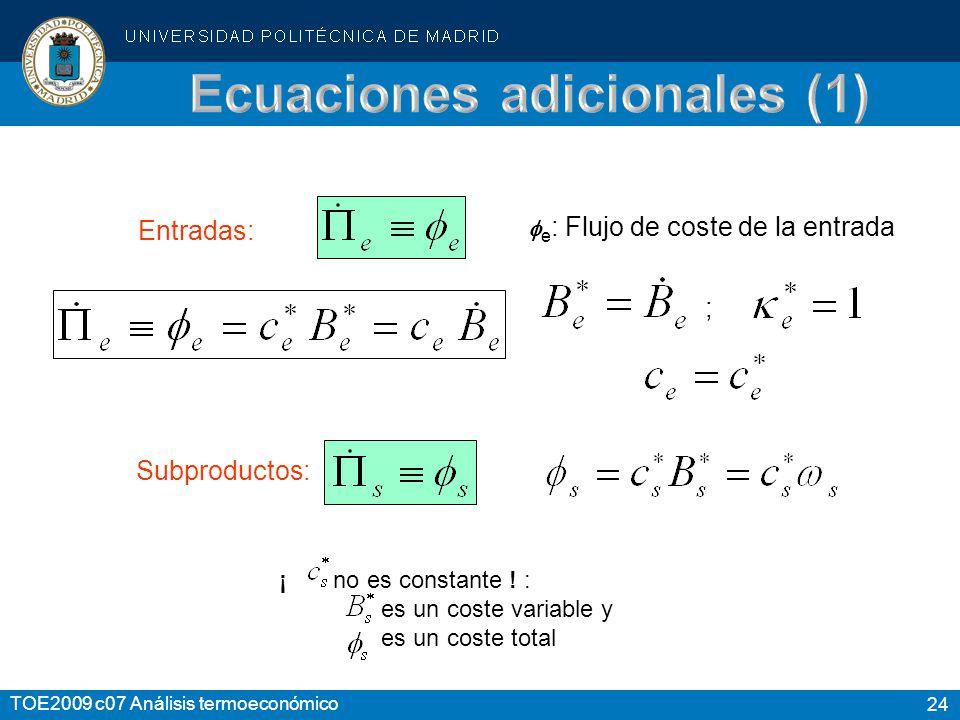 24 TOE2009 c07 Análisis termoeconómico Entradas: e : Flujo de coste de la entrada ; Subproductos: ¡ no es constante ! : es un coste variable y es un c