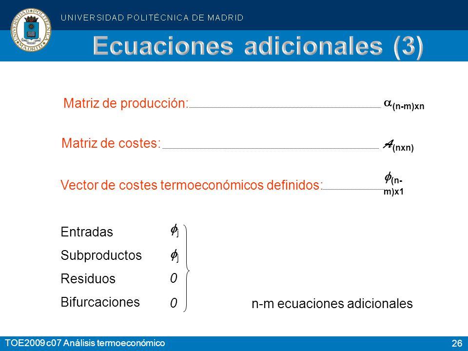 26 TOE2009 c07 Análisis termoeconómico Matriz de producción: Matriz de costes: Vector de costes termoeconómicos definidos: (n-m)xn A (nxn) (n- m)x1 En