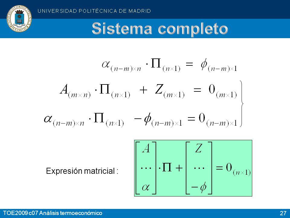 27 TOE2009 c07 Análisis termoeconómico Expresión matricial :