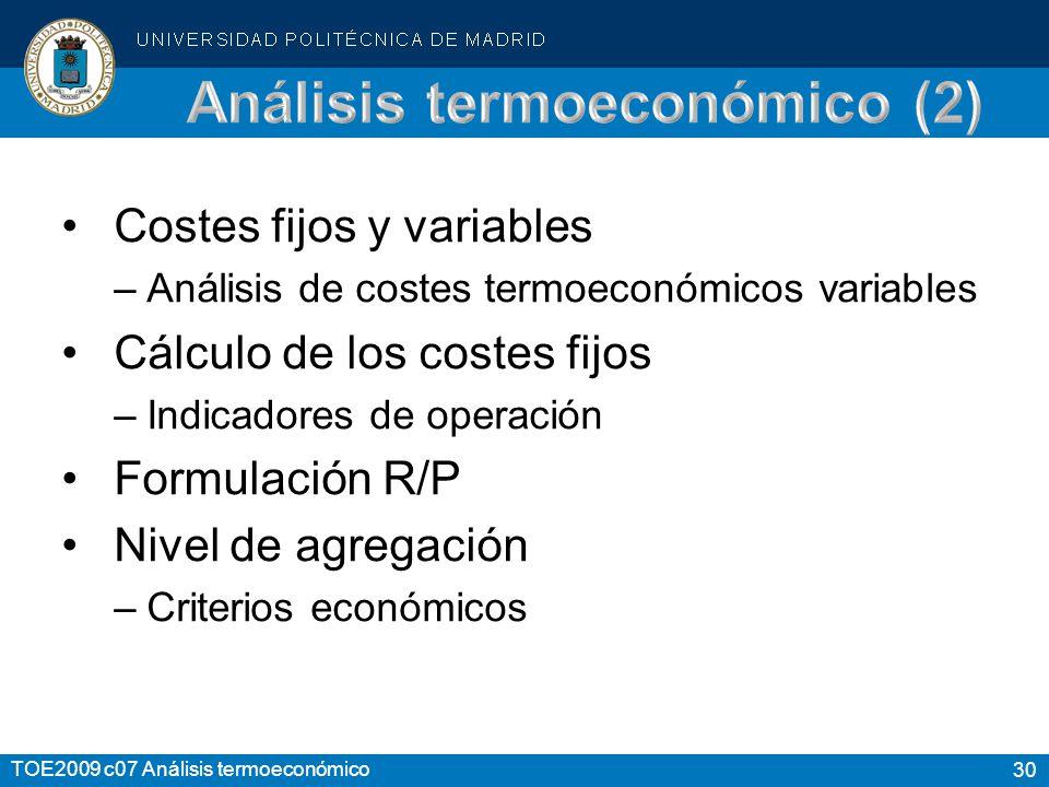 30 TOE2009 c07 Análisis termoeconómico Costes fijos y variables –Análisis de costes termoeconómicos variables Cálculo de los costes fijos –Indicadores