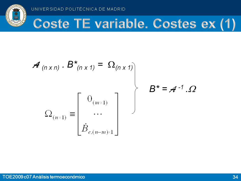 34 TOE2009 c07 Análisis termoeconómico A (n x n). B* (n x 1) = (n x 1) B* = A -1.