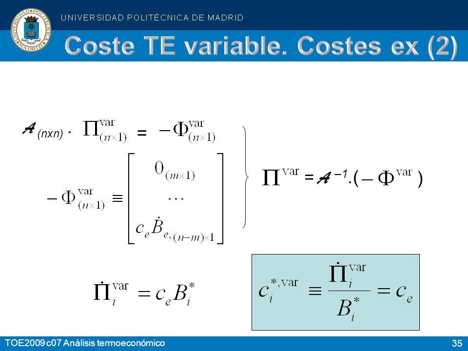 35 TOE2009 c07 Análisis termoeconómico A (nxn). = = A –1. ( )