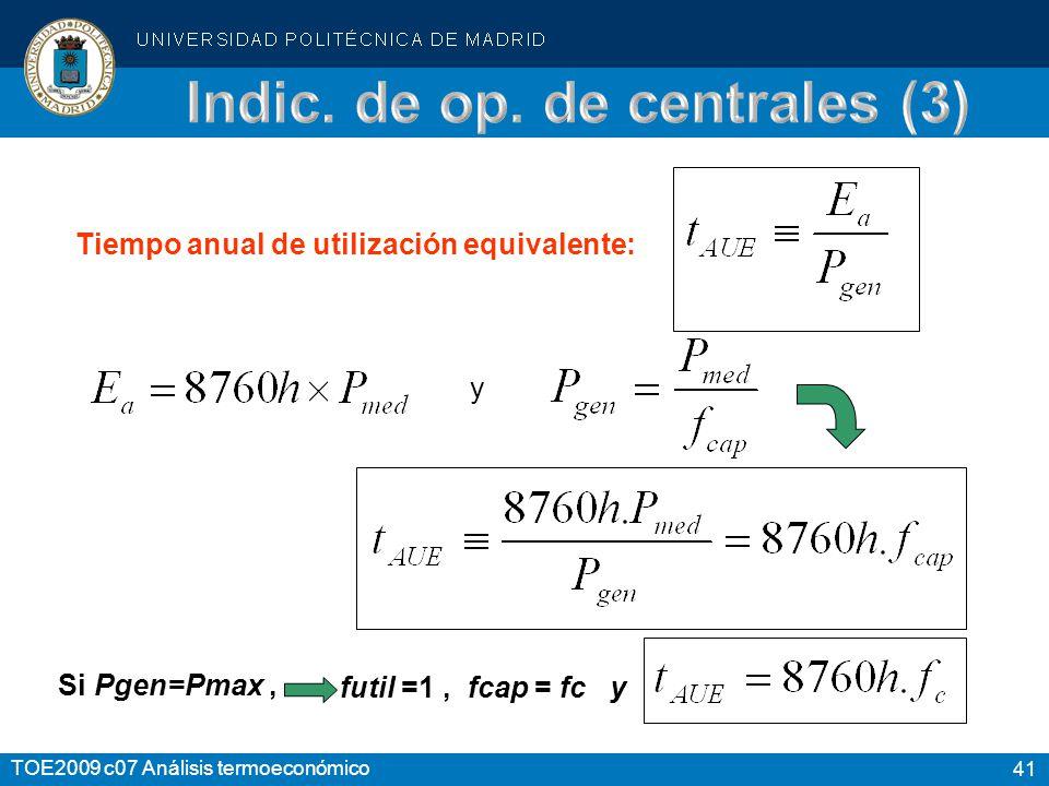 41 TOE2009 c07 Análisis termoeconómico Tiempo anual de utilización equivalente: y Si Pgen=Pmax, futil =1, fcap = fc y