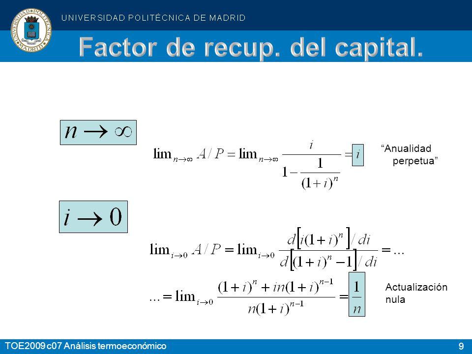 40 TOE2009 c07 Análisis termoeconómico Reserva: Reserva absoluta: Factor de reserva, o reserva relativa: