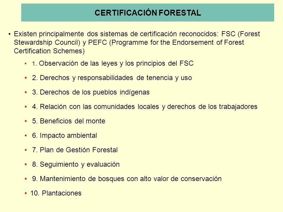 1. Observación de las leyes y los principios del FSC 2. Derechos y responsabilidades de tenencia y uso 3. Derechos de los pueblos indígenas 4. Relació