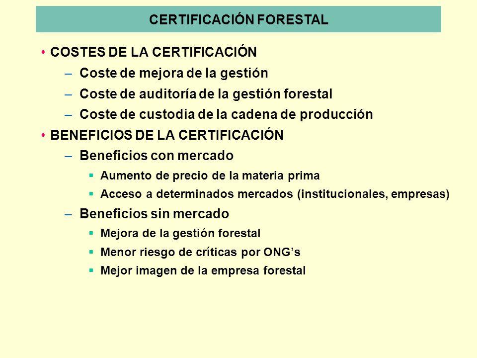 COSTES DE LA CERTIFICACIÓN –Coste de mejora de la gestión –Coste de auditoría de la gestión forestal –Coste de custodia de la cadena de producción BEN