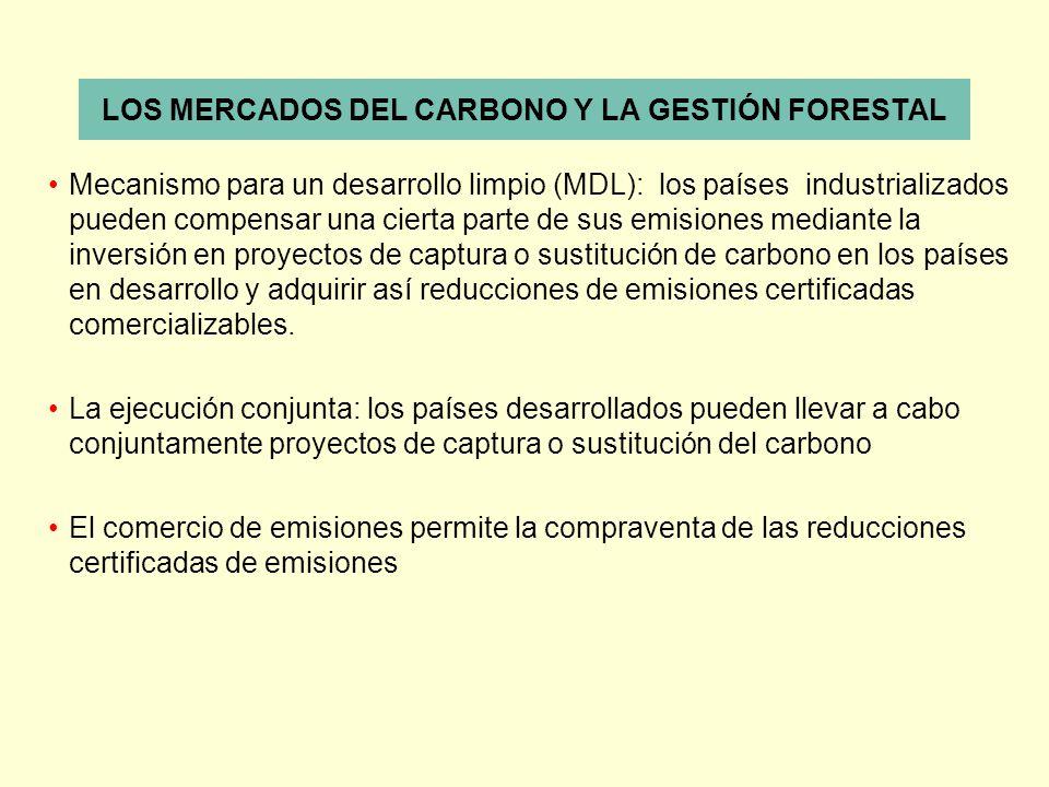 LOS MERCADOS DEL CARBONO Y LA GESTIÓN FORESTAL Mecanismo para un desarrollo limpio (MDL): los países industrializados pueden compensar una cierta part