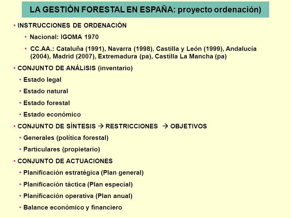 LA GESTIÓN FORESTAL EN ESPAÑA: proyecto ordenación) INSTRUCCIONES DE ORDENACIÓN Nacional: IGOMA 1970 CC.AA.: Cataluña (1991), Navarra (1998), Castilla