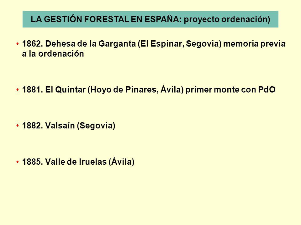 1862. Dehesa de la Garganta (El Espinar, Segovia) memoria previa a la ordenación 1881. El Quintar (Hoyo de Pinares, Ávila) primer monte con PdO 1882.