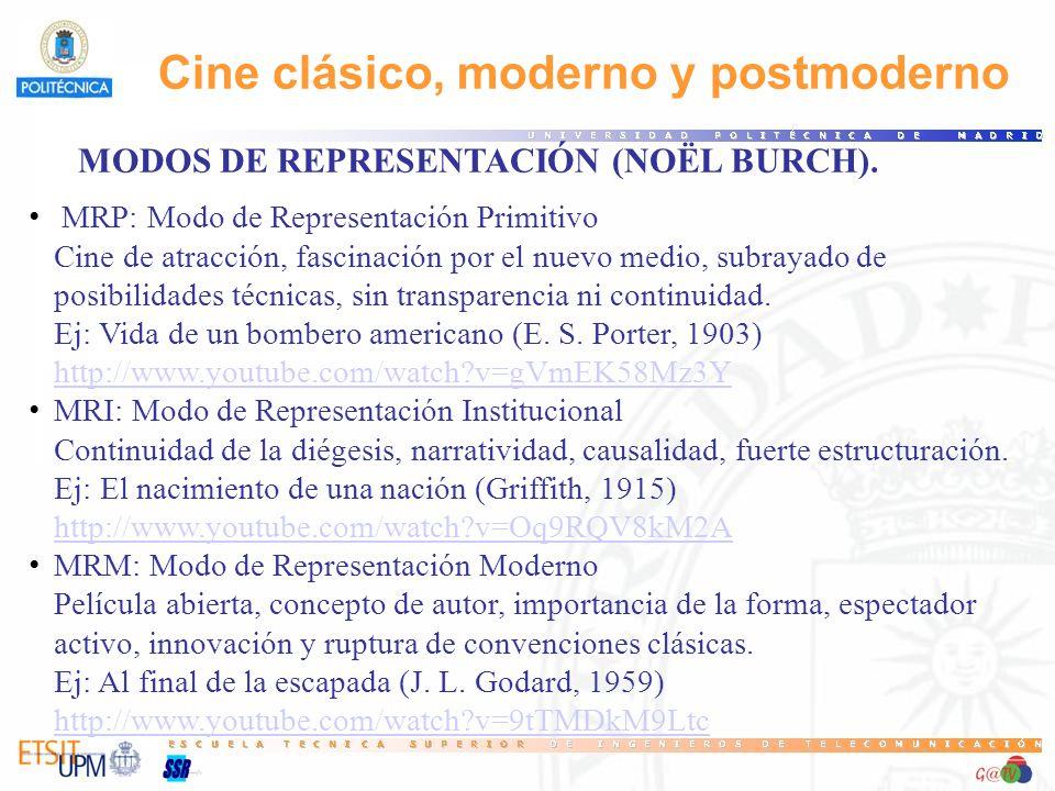 Cine clásico, moderno y postmoderno MODOS DE REPRESENTACIÓN (NOËL BURCH). MRP: Modo de Representación Primitivo Cine de atracción, fascinación por el