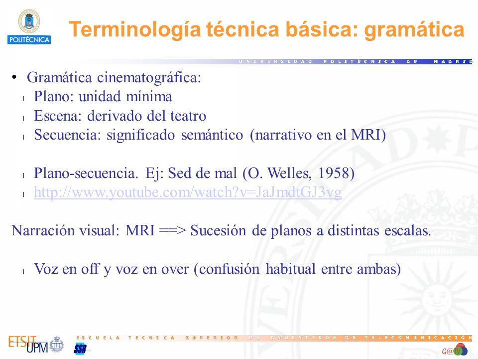 Terminología técnica básica: gramática Gramática cinematográfica: l Plano: unidad mínima l Escena: derivado del teatro l Secuencia: significado semánt