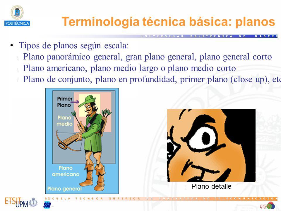 Terminología técnica básica: planos Tipos de planos según escala: l Plano panorámico general, gran plano general, plano general corto l Plano american