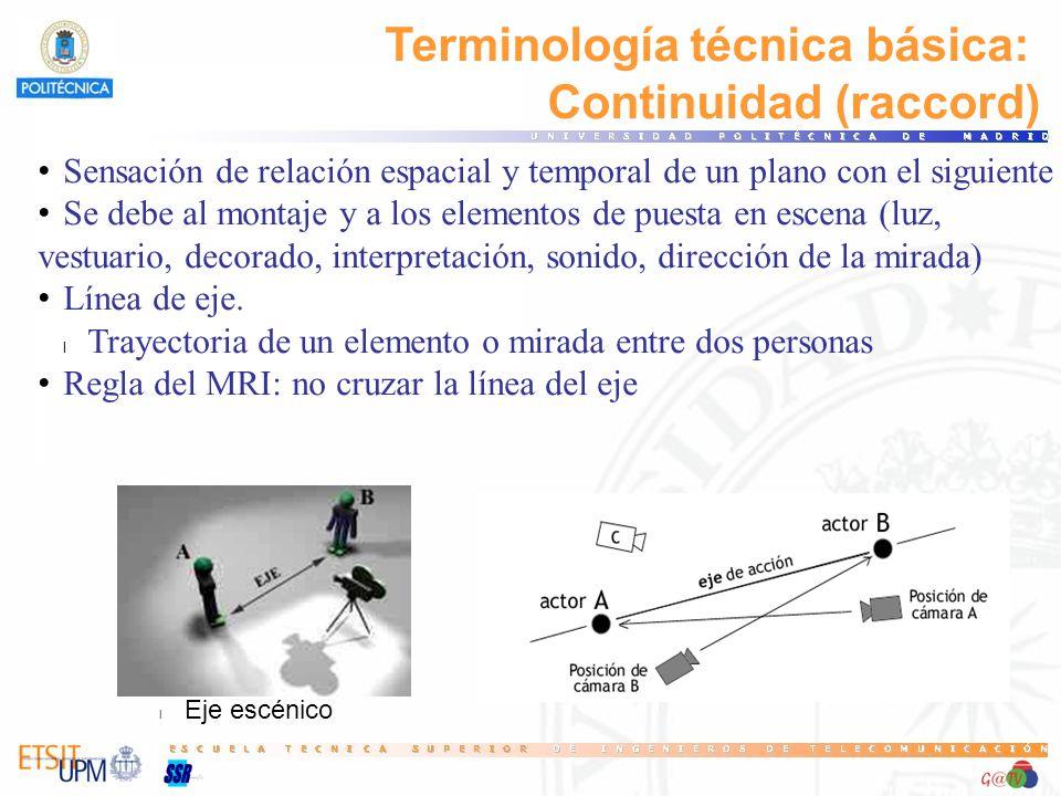 Terminología técnica básica: Continuidad (raccord) Sensación de relación espacial y temporal de un plano con el siguiente Se debe al montaje y a los e