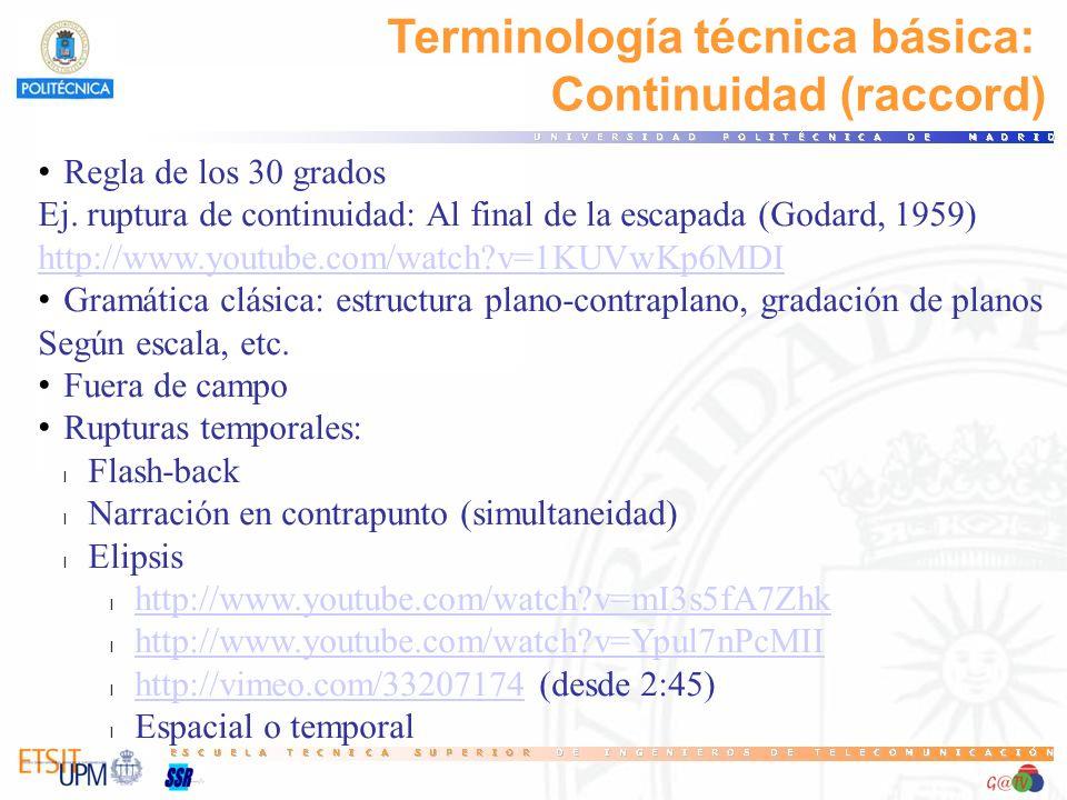 Terminología técnica básica: Continuidad (raccord) Regla de los 30 grados Ej. ruptura de continuidad: Al final de la escapada (Godard, 1959) http://ww