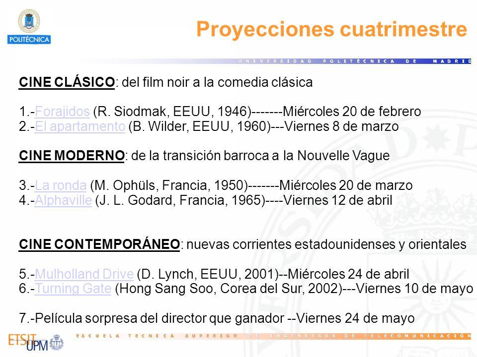 Proyecciones cuatrimestre CINE CLÁSICO: del film noir a la comedia clásica 1.-Forajidos (R. Siodmak, EEUU, 1946)-------Miércoles 20 de febrero 2.-El a