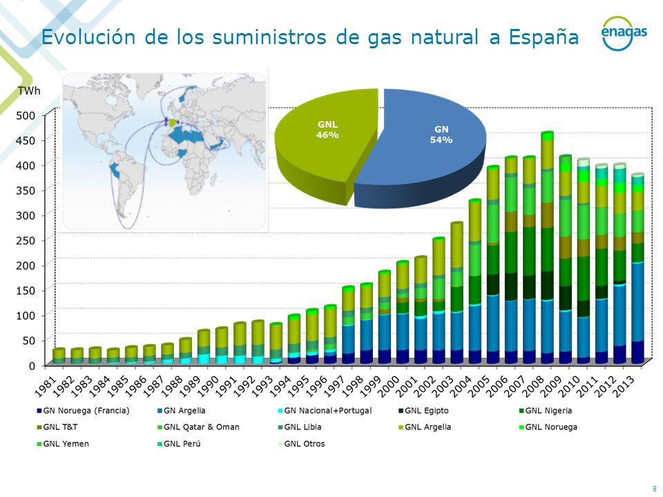 Evolución de los suministros de gas natural a España 8