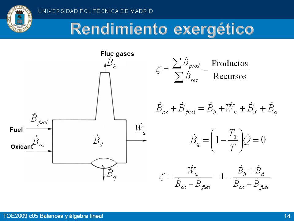 14 TOE2009 c05 Balances y álgebra lineal Flue gases Fuel Oxidant T o