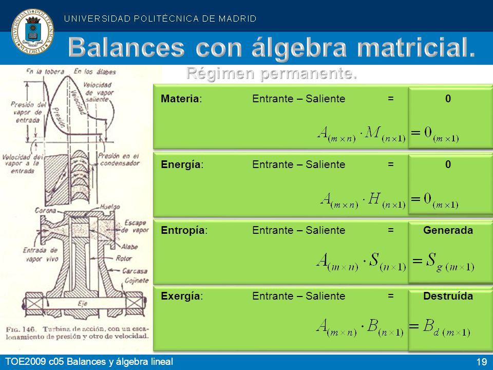 19 TOE2009 c05 Balances y álgebra lineal Materia:Entrante – Saliente= 0 Energía:Entrante – Saliente= 0 Entropía:Entrante – Saliente=Generada Exergía:E