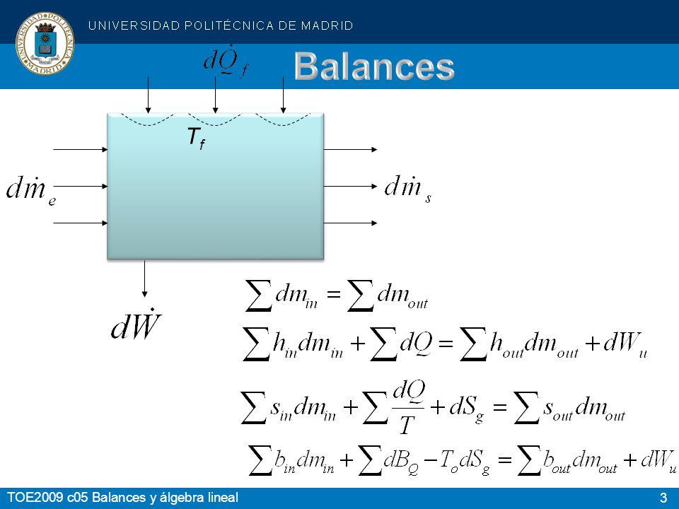 3 TOE2009 c05 Balances y álgebra lineal TfTf