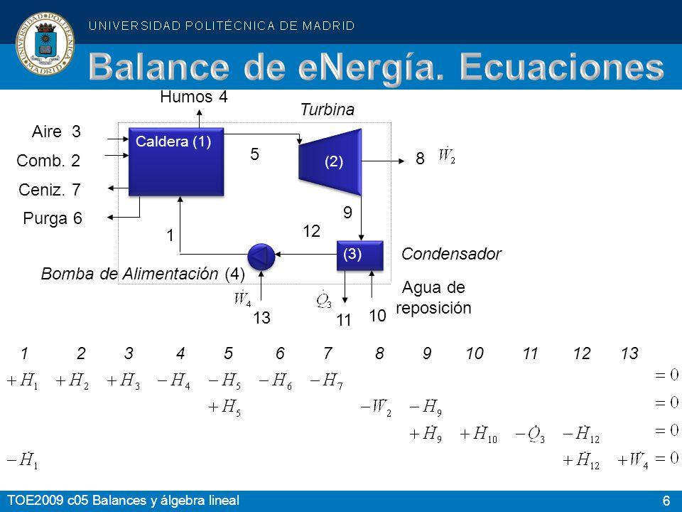 6 TOE2009 c05 Balances y álgebra lineal Caldera (1) (3) Bomba de Alimentación (4) 13 11 12 5 1 Purga 6 Ceniz. 7 Comb. 2 Aire 3 Humos 4 Turbina 8 9 10