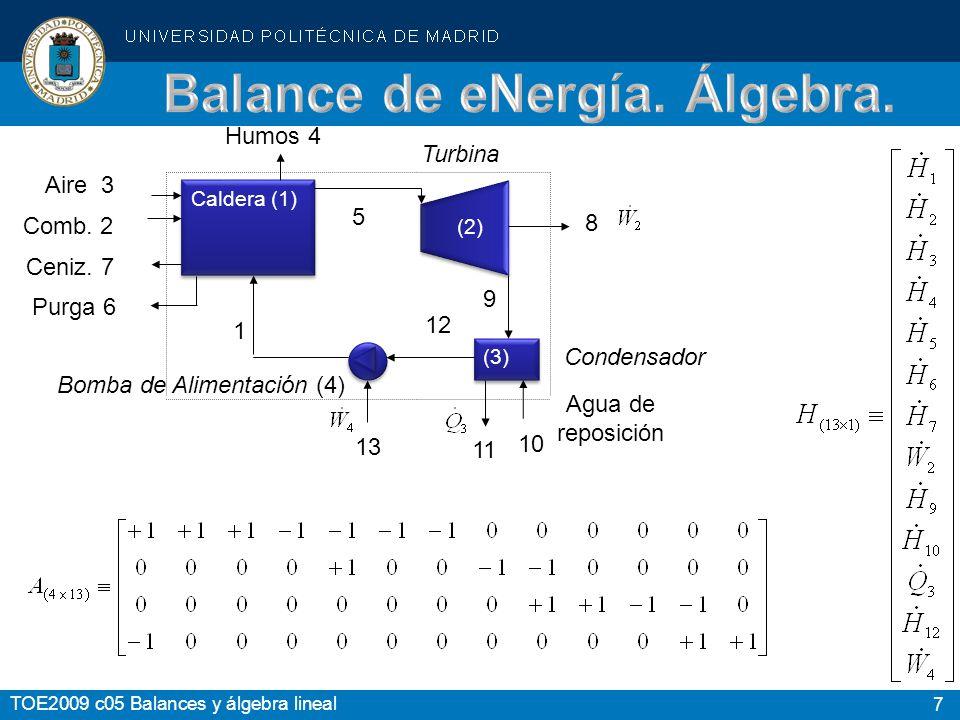 7 TOE2009 c05 Balances y álgebra lineal Caldera (1) (3) Bomba de Alimentación (4) 13 11 12 5 1 Purga 6 Ceniz. 7 Comb. 2 Aire 3 Humos 4 Turbina 8 9 10