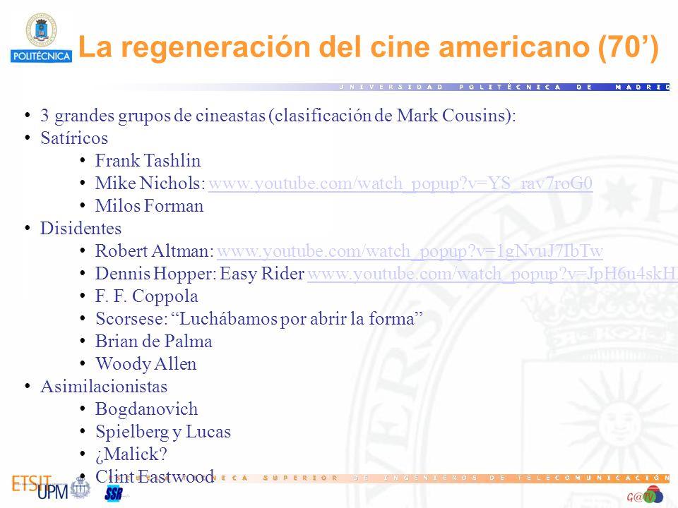 La regeneración del cine americano (70) 3 grandes grupos de cineastas (clasificación de Mark Cousins): Satíricos Frank Tashlin Mike Nichols: www.youtube.com/watch_popup?v=YS_rav7roG0www.youtube.com/watch_popup?v=YS_rav7roG0 Milos Forman Disidentes Robert Altman: www.youtube.com/watch_popup?v=1gNvuJ7IbTwwww.youtube.com/watch_popup?v=1gNvuJ7IbTw Dennis Hopper: Easy Rider www.youtube.com/watch_popup?v=JpH6u4skHLk#t=1m20swww.youtube.com/watch_popup?v=JpH6u4skHLk#t=1m20s F.