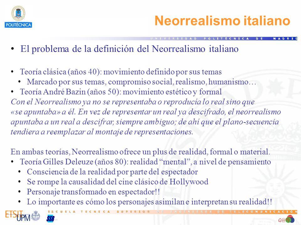 Neorrealismo italiano El problema de la definición del Neorrealismo italiano Teoría clásica (años 40): movimiento definido por sus temas Marcado por s
