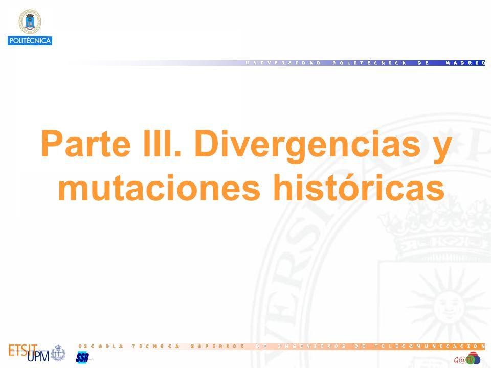 Parte III. Divergencias y mutaciones históricas