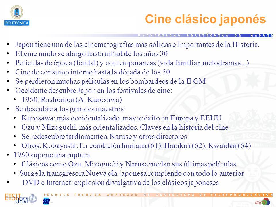 Cine clásico japonés Japón tiene una de las cinematografías más sólidas e importantes de la Historia. El cine mudo se alargó hasta mitad de los años 3