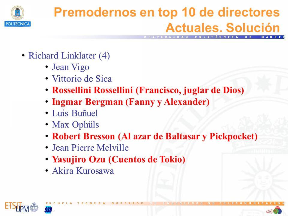 Premodernos en top 10 de directores Actuales. Solución Richard Linklater (4) Jean Vigo Vittorio de Sica Rossellini Rossellini (Francisco, juglar de Di