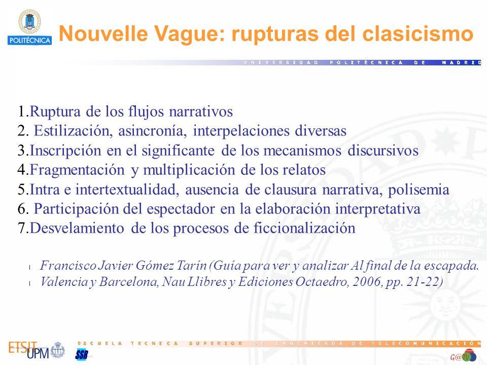 Nouvelle Vague: rupturas del clasicismo 1.Ruptura de los flujos narrativos 2. Estilización, asincronía, interpelaciones diversas 3.Inscripción en el s